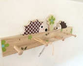 Hedgehog Peg Rack, Hedgehog Hanger,  Woodland Nursery Decor, Woodland Kids Decor, Forest Themed Decor, eco-friendly