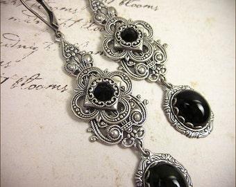 Medieval Earrings, Black Jewel, Victorian Earrings, Bridal, Renaissance Earrings, Medieval, Tudor, Renaissance Jewelry, Avalon