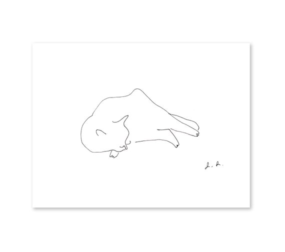 Cat Nap- Ink Drawing- Cat Art Print- Full Body