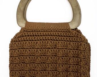 Brown Macrame Vintage Tote Bag