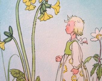Vintage Postcard, Zakka Girl, Springtime Wishes, German Postcard, Springtime, Spring Image, Happy Spring, Butterflies, Spring Flowers
