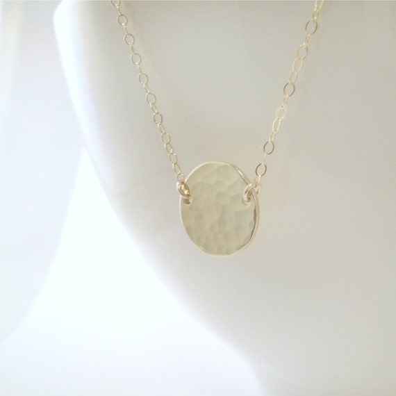 Beach Day Necklace - Simple Circle Necklace - Simple Hammered Disc on Delicate Chain