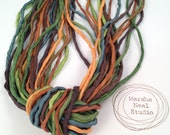 Hand Dyed Silk Ribbon - Silk Cord - DIY Craft - Jewelry Supplies - Wrap Bracelet - Craft Supplies - 2mm Silk Cord Strands Fall Leaf Colors