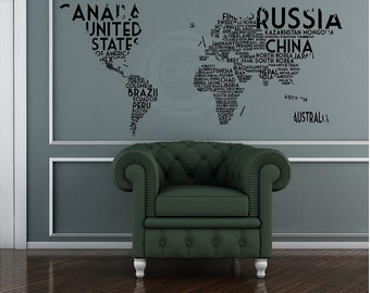 World Word Map vinyl Wall Decal sticker