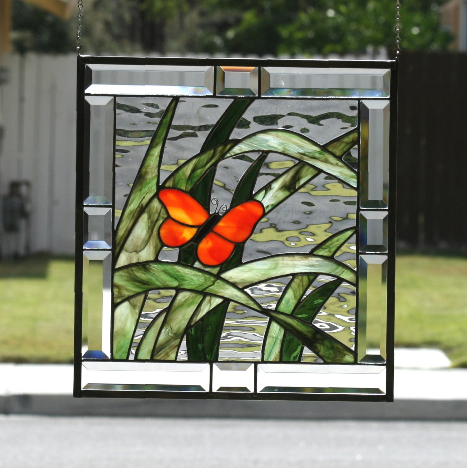 Butterfly contemporary stained glass window panel with for Contemporary stained glass