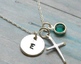 First Communion Necklace - Communion Jewelry - with Sterling Silver Cross and Swarovski Birthstone and Initial