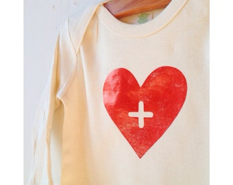 Sale Big Heart Infant Organic bodysuit, natural cream short or long sleeve, red metallic foil or matte black design, baby toddler onesie