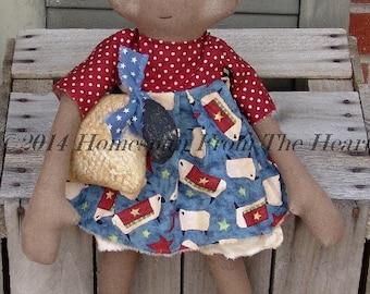 Primitive Americana Cloth doll with sheep pattern, Americana decor, HFTH200