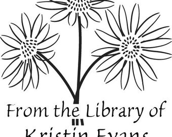 Daisy -From the Library of - Custom Rubber Stamp - book plate