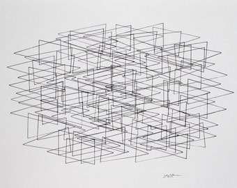 On Sale! Minimalist Triangle drawing by Julie Tillman. original art on watercolor paper with triangles, geometric shapes. original, modern
