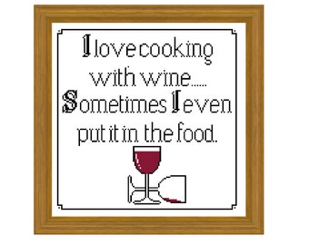 Cooking with wine - Cross stitch pattern PDF. Instant download