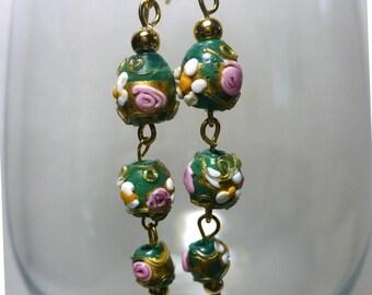 Karina's Opaque Green Antique Venetian Wedding Cake Dangle Bead Earrings w. 14K GF Ear Wires Mother of Bride Groom