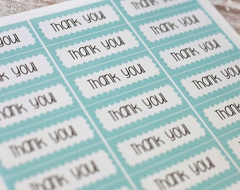 Thank You Stickers - Rectangle Aqua and Brown for Etsy Packaging - 2.5 inch, set of 10