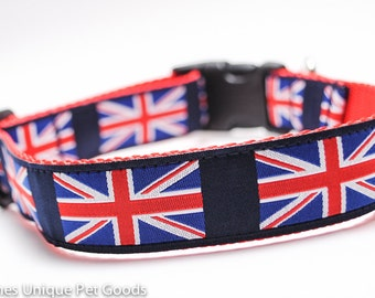 Union Jack Dog Collar / Martingale or Buckle Dog Collar / British Flag / UK