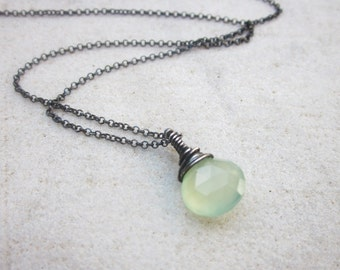 Lime Chalcedony briolette necklace wire wrapped stone pendant necklace dainty sterling silver necklace minimalist jewelry simple jewelry