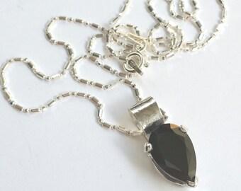 Black Pear Necklace, Black Pear CZ, Black Cubic Zirconia, Deep Dark Sparkle, Tear Drop Shape, Set UpsideDown, Indian Paisley, Big Bold Black