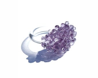 Glass Cluster Ring - Lavender