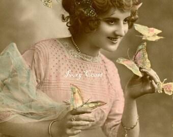 Butterflies all around.  Vintage Photo Postcard Image.  Digital Download.  Ephemera.