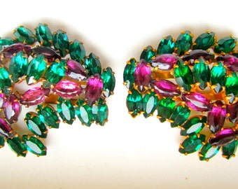 Vintage Pair Rhinestone Dress Clips Emerald Amethyst Art Deco 1930's Shoe Clips Hair Ornament
