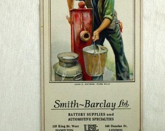 Vintage Brown and Bieglow Calendar. July 1927. Pure Milk