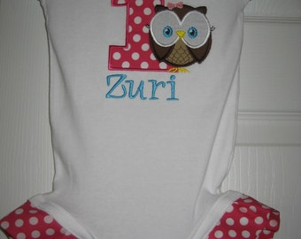 Boutique Owl Look Whoo's One bodysuit with ruffles