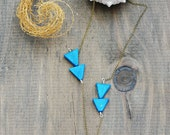 "Stalactite Necklace - ""Tranquility"" Howlite Turquoise - Long Triangle Geometric Arrow Necklace - by Simka Sol"
