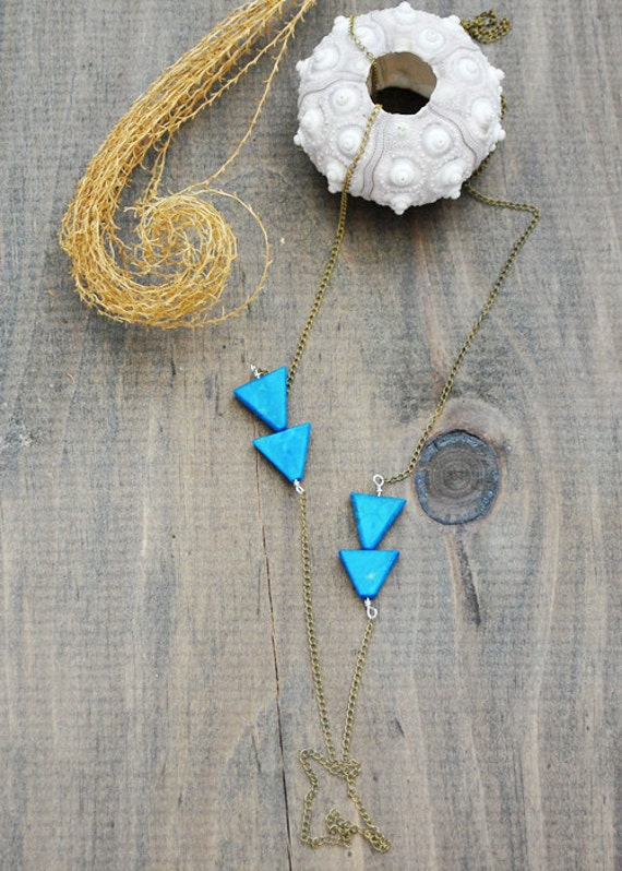 """Stalactite Necklace - """"Tranquility"""" Howlite Turquoise - Long Triangle Geometric Arrow Necklace - by Simka Sol"""