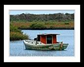 Red Boat Photo, Wooden Boat Photograph, Boat Photography, Nautical Photograph, Rustic Decor, 5x7 Photo Art Print, Nautical Decor
