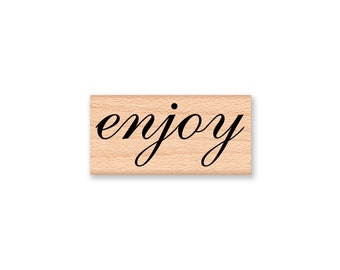 enjoy-pretty script font-wood mounted rubber stamp(28-25)