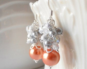 Orange Pearl Bead Cluster Earrings Tangerine Bridesmaid Jewelry Beaded Dangles Orange and Silver Wedding Jewelry Bridesmaid Gifts