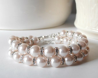 Pale Pink Double Strand Pearl Bracelet, Light Pink Bridesmaid Bracelets, Pearl and Rhinestone Wedding Jewelry, Petal Pink Bridesmaid Gift