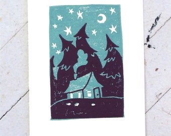 Cabin in the Woods, Starry Night card - Hand printed in blue and indigo