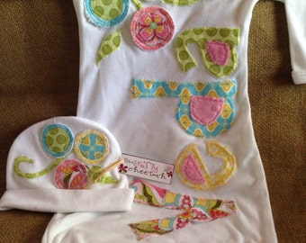 Personalized infant gown and hat