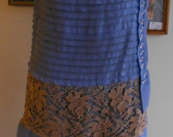 """1920""""s. 34"""" bust, """"sweet Alice"""" blue crepe dress with matching hat."""