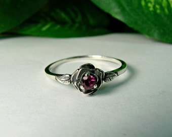 Rose with Ruby Ring - Sterling Silver