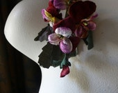 Pansies Velvet Flowers in Ivory and Claret for Boutonnieres, Headbands, Millinery, Corsages MF 205