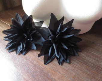 Black Dahlia Silk Millinery Flower for Bridal, Hats, Corsages, Wrists, Bouquet MF24blk