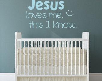 Jesus Loves Me vinyl decal, children's wall art sticker, bedroom decor, nursery, religious decals
