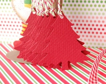 Large Christmas Pine Tree Gift Tags in Cranberry Red--Set of 15-Holiday Twine-Paper Ornament-Place Card-Gift Tag-Earring Card-Ready to Ship