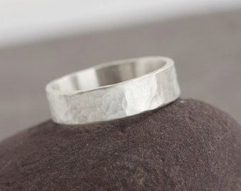 Kala - Hammered Sterling Silver Ring Band in Brushed Matte finish