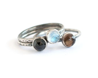 SPECIAL Handmade Sterling Silver Stack Rings with Rainbow Moonstone Smoky Quartz and Black Spinel