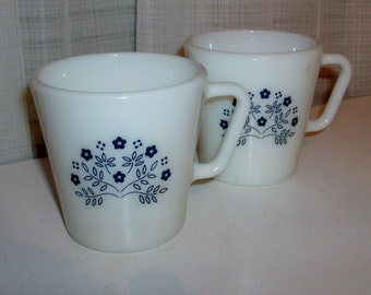 Two Blueberry Summer Impressions Mugs by Pyrex