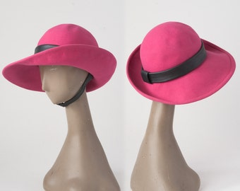 Vintage 1960s Pink Hat: MOD Emme Wool Felt Fedora, Leather Chin Strap, Wide Brim, Accessories, Hats & Caps, Fedoras