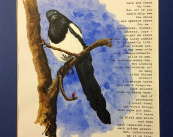 """Shiny Things: Hand-painted magpie A4 acrylic on canvas with original poem, mounted to 14 x 11"""""""
