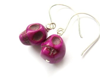 Magenta Skull Earrings with Sterling Silver - Day of the Dead Halloween Earrings