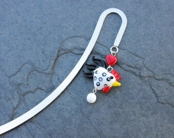 Chicken Love bookmark - heart shaped chicken or rooster on silver tone bookmark - great gift -Free Shipping USA