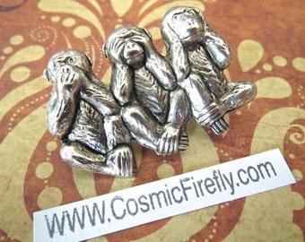 Silver Monkeys Pin Monkeys Brooch Steampunk Pin Steampunk Brooch Speak No Evil See Hear No Evil Monkey Steampunk Accessories Cosplay Pin