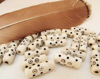 Carved Bone Tube  Beads 5 Ivory and Brown Native American Southwestern Tribal Cream Jewelry Bead Necklace Bead #129