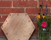Hexagon Cutting Board or Serving Platter  with Bee Border cherry  hardwood with FREE wood conditioner