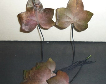 Vintage Millinery Flower IVY Leaves Eggplant Olive Bruised Fruit Ombre handpainted Hat Making Hair Wreath Boutonniere Supplies